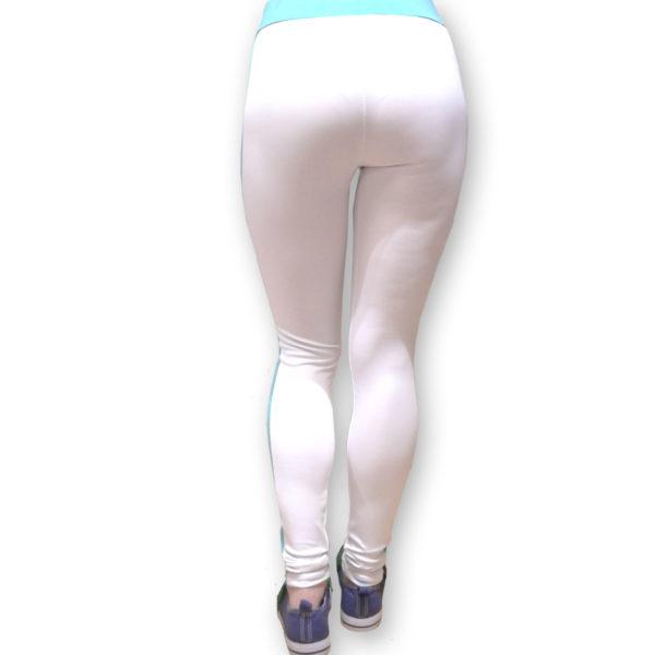 Белые легинсы для фитнеса BandWolf Sport с боковыми цветными полосками