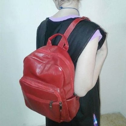 Рюкзак городской женский красный кожаный (эко-кожа)