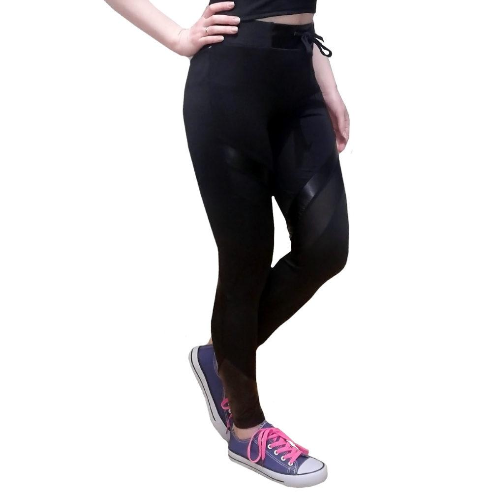 Легинсы женские с кожаными и черными полупрозрачными вставками BandWolf