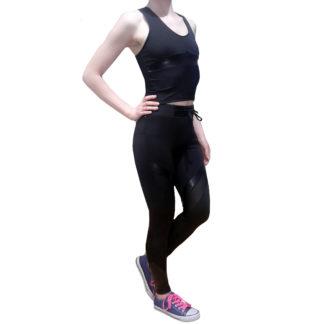 Костюм для фитнеса BandWolf Sport с кожаными вставками и полупрозрачными панелями