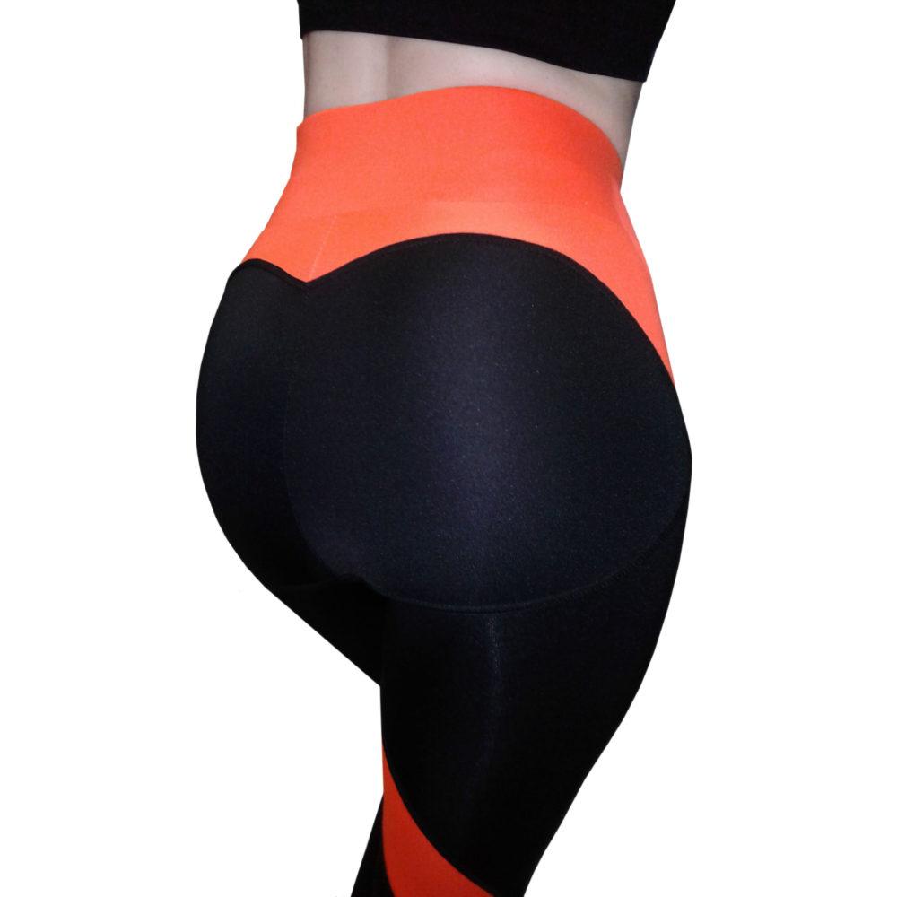 Легинсы пуш ап (push up) для фитнеса черные с оранжевыми вставками - Попинсы BandWolf Sport - купить в интернет-магазине