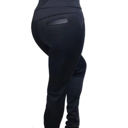 Черные брюки-легинсы с кожаными карманами - купить в интернет-магазине