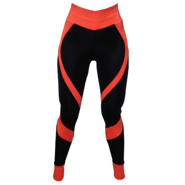 Легинсы пуш ап (push up) для фитнеса черные с оранжевыми вставками — Попинсы BandWolf Sport - купить в интернет-магазине