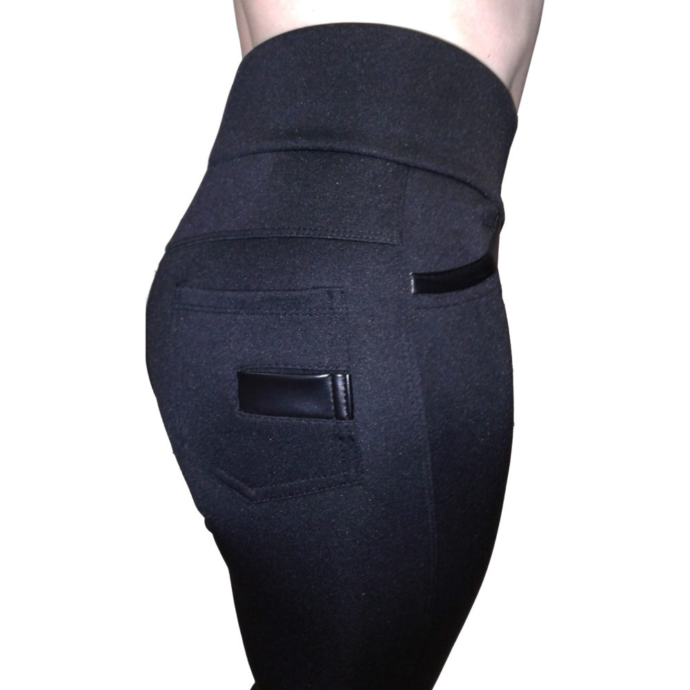 Черные брюки-легинсы с кожаными вставками на карманах - купить в интернет-магазине