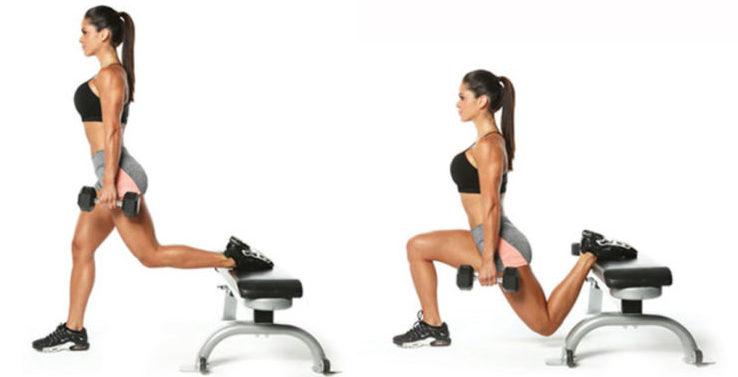 Топ 5 простых домашних упражнений. Выпады со скамьи - как правильно делать